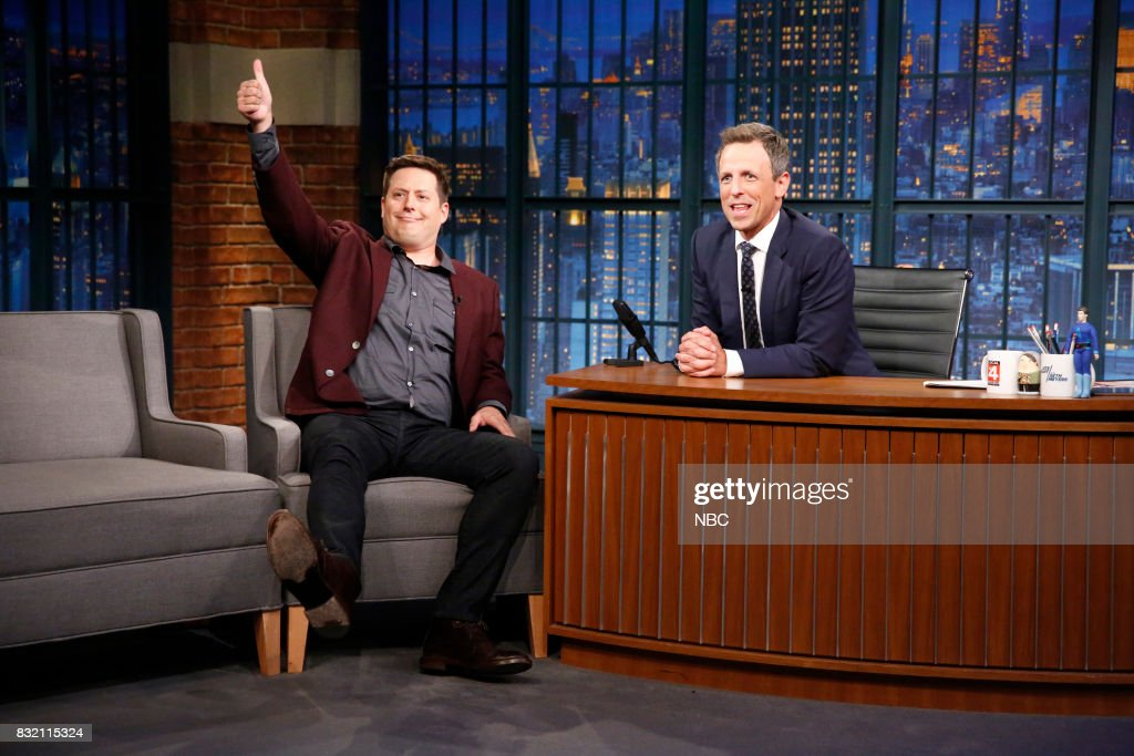 Comedian Anthony Atamanuik talks with host Seth Meyers during an interview on August 15, 2017 --