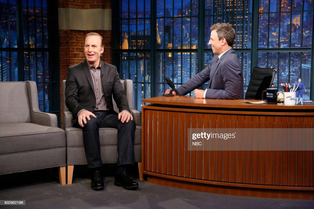 Actor Bob Odenkirk talks with host Seth Meyers during an interview on August 16, 2017 --