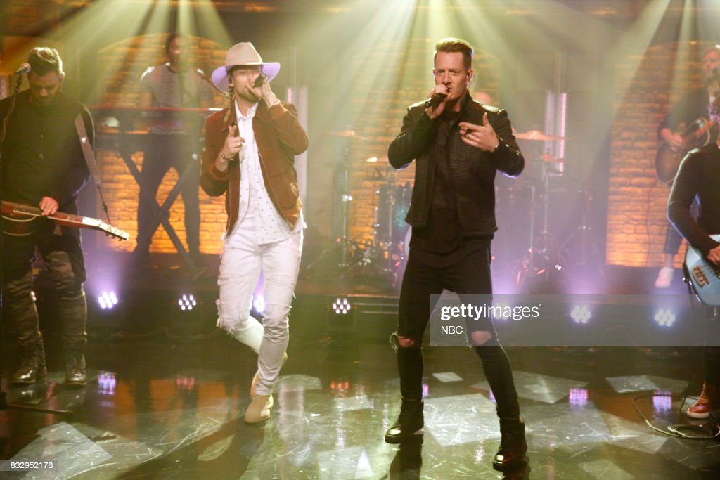 Brian Kelley and Tyler Hubbard of musical guest Florida Georgia Line perform on August 16, 2017 --
