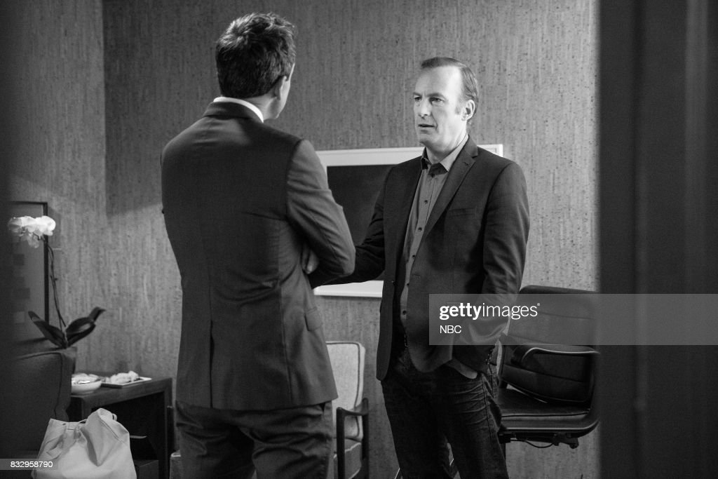 MEYERS -- (EXCLUSIVE COVERAGE) -- Episode 570 -- Pictured: (l-r) Host Seth Meyers talks with actor Bob Odenkirk backstage on August 16, 2017 --