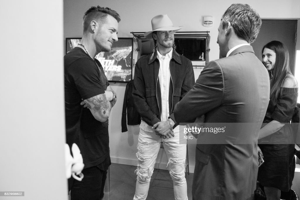 MEYERS -- (EXCLUSIVE COVERAGE) -- Episode 570 -- Pictured: (l-r) Tyler Hubbard and Brian Kelley of Florida Georgia Line talk with host Seth Meyers on August 16, 2017 --