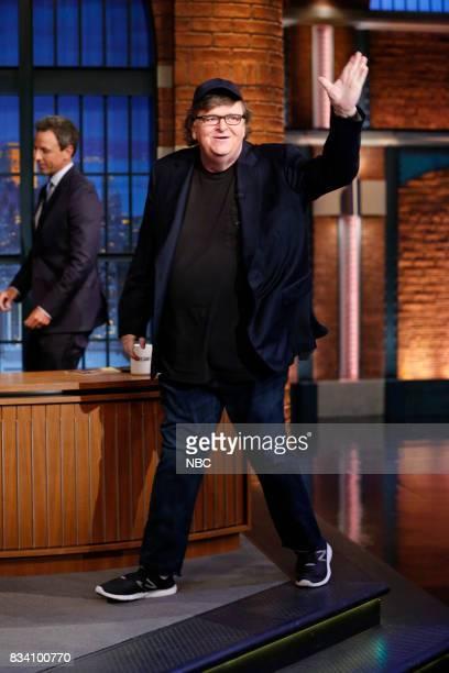 Filmmaker Michael Moore arrives on August 17 2017