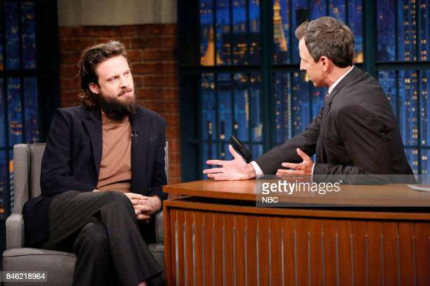 Musical guest Father John Misty talks with host Seth Meyers during an interview on September 12 2017