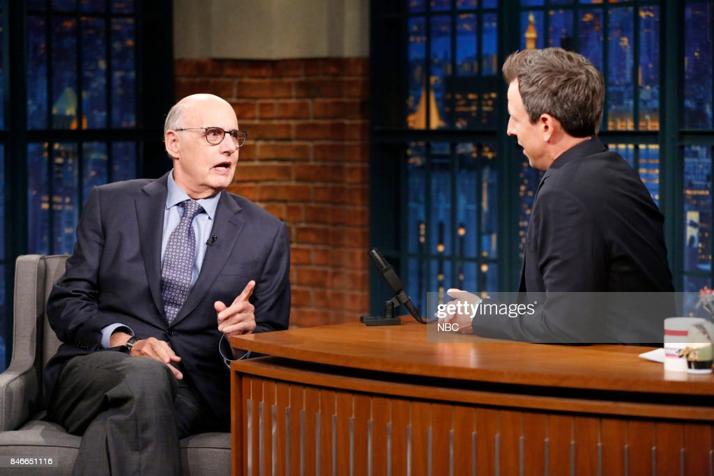 Actor Jeffrey Tambor talks with host Seth Meyers during an interview on September 13, 2017 --