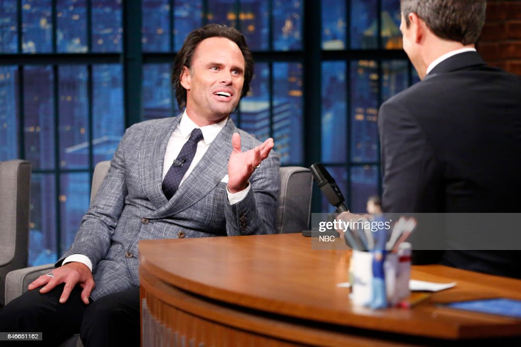 Actor Walton Goggins talks with host Seth Meyers during an interview on September 13, 2017 --