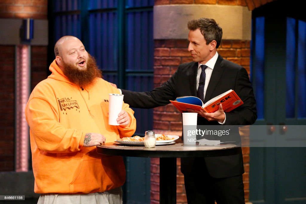 Rapper Action Bronson talks with host Seth Meyers during an interview on September 13, 2017 --
