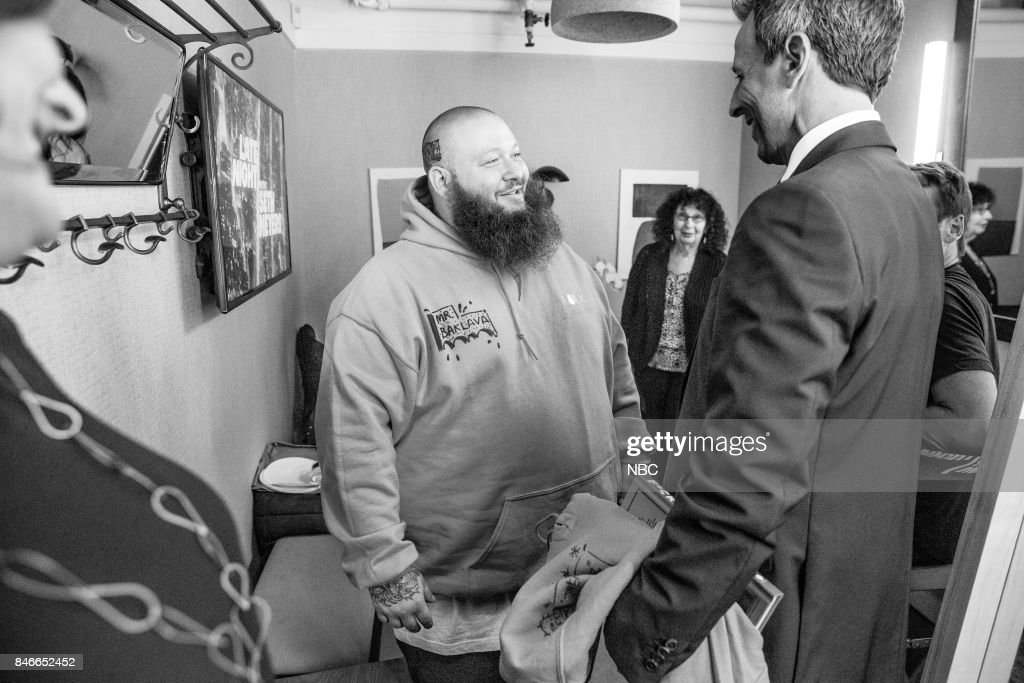 MEYERS -- (EXCLUSIVE COVERAGE) -- Episode 577 -- Pictured: (l-r) Rapper Action Bronson talks with host Seth Meyers backstage on September 13, 2017 --