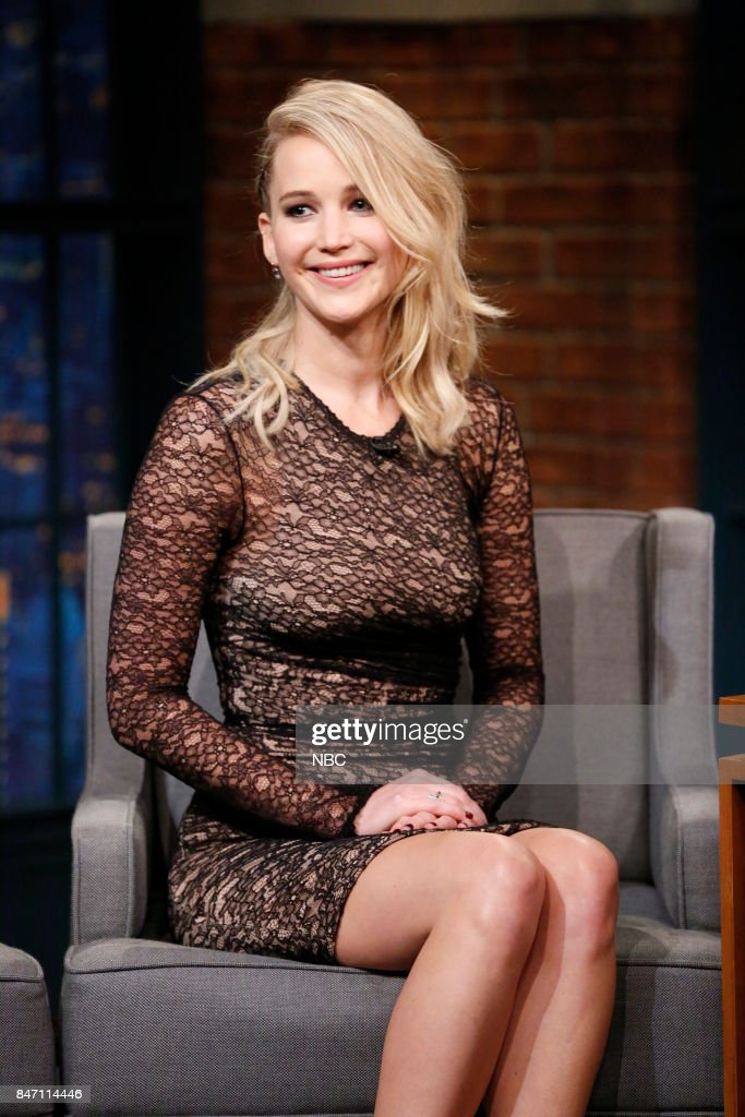 """NBC's """"Late Night With Seth Meyers"""" With Guests Jennifer Lawrence, Caitriona Balfe, Ezra Klein"""