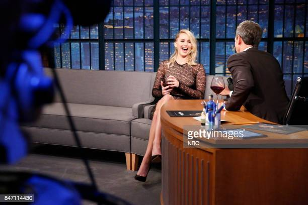 Actress Jennifer Lawrence talks to host Seth Meyers during an interview on September 14 2017
