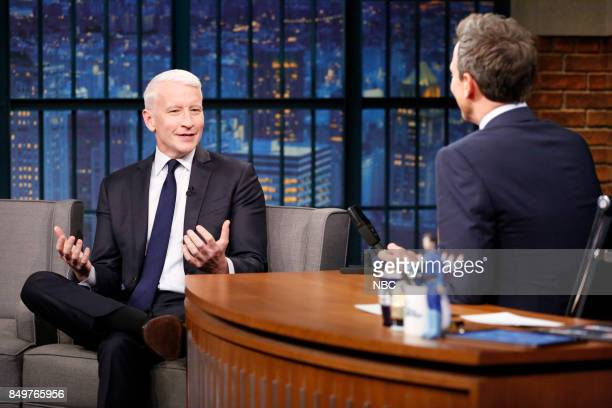 CNN's Anderson Cooper talks with host Seth Meyers during an interview on September 19 2017