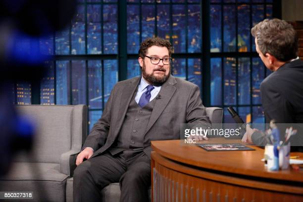 Actor Bobby Moynihan talks with host Seth Meyers during an interview on September 20 2017