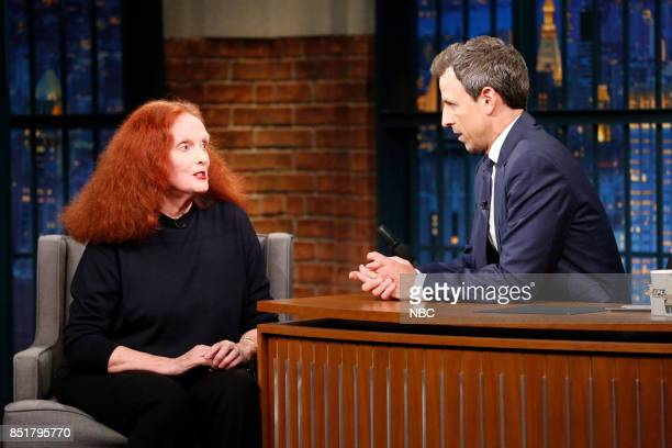 Grace Coddington talks with host Seth Meyers during an interview on September 22 2017