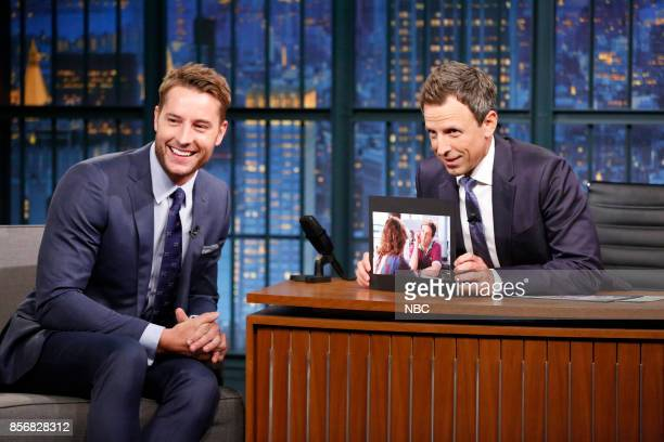 Actor Justin Hartley talks with host Seth Meyers during an interview on October 2 2017