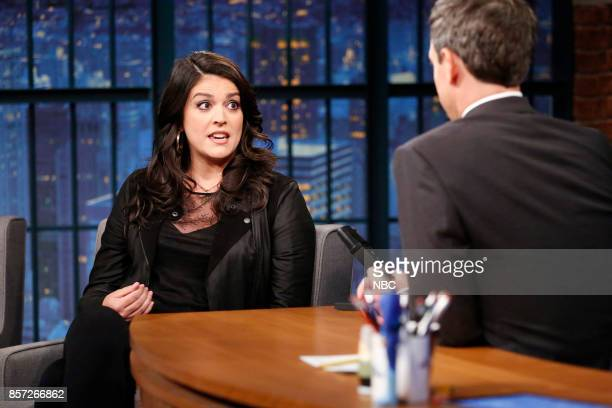 Actress Cecily Strong talks with host Seth Meyers during an interview on October 3 2017