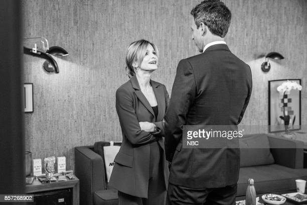 MEYERS Episode 588 Pictured Actress Kyra Sedgwick talks with host Seth Meyers backstage on October 3 2017