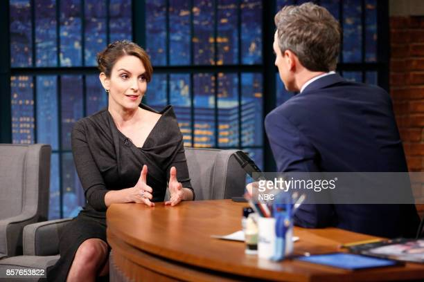 Actress Tina Fey talks with host Seth Meyers during an interview on October 4 2017