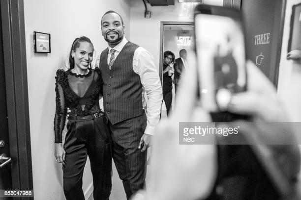 MEYERS Episode 590 Pictured Actress Kerry Washington and Musician Clifford 'Method Man' Smith backstage on October 5 2017