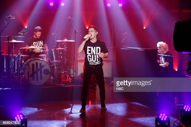 Musical guests David Boyd Louis Vecchio Søren Hansen of New Politics perform on October 5 2017