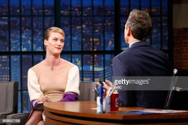Actress Mackenzie Davis during an interview with host Seth Meyers on October 9 2017