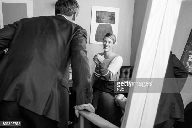 Host Seth Meyers talks with actress Mackenzie Davis on October 9 2017