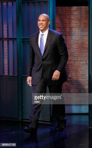 Senator Cory Booker arrives on October 9 2017
