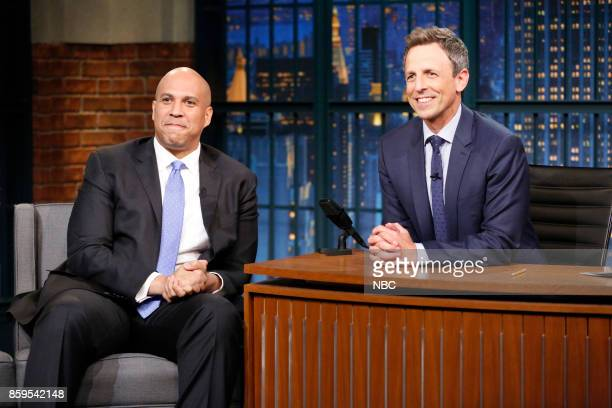 Senator Cory Booker during an interview with host Seth Meyers on October 9 2017