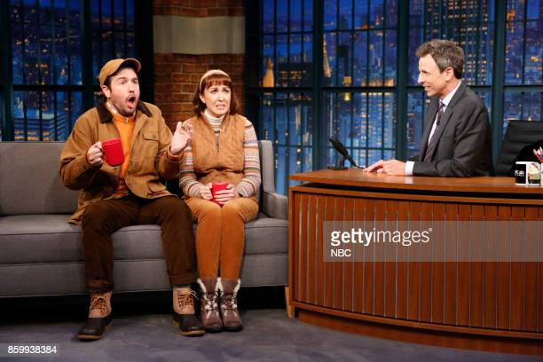 """Mike Scollins Ally Hord and host Seth Meyers during """"Two People from Vermont Who Love Fall"""" sketch on October 10 2017"""