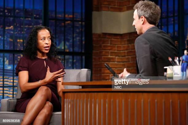 Writer Ladee Hubbard talks with host Seth Meyers during an interview on October 10 2017