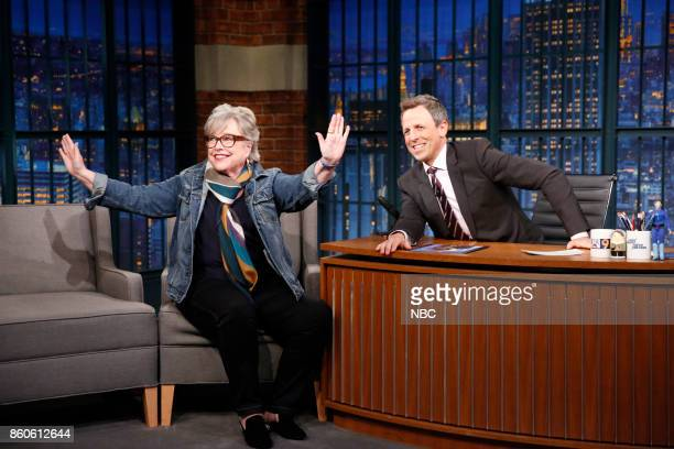Actress Kathy Bates talks with host Seth Meyers during an interview on October 11 2017