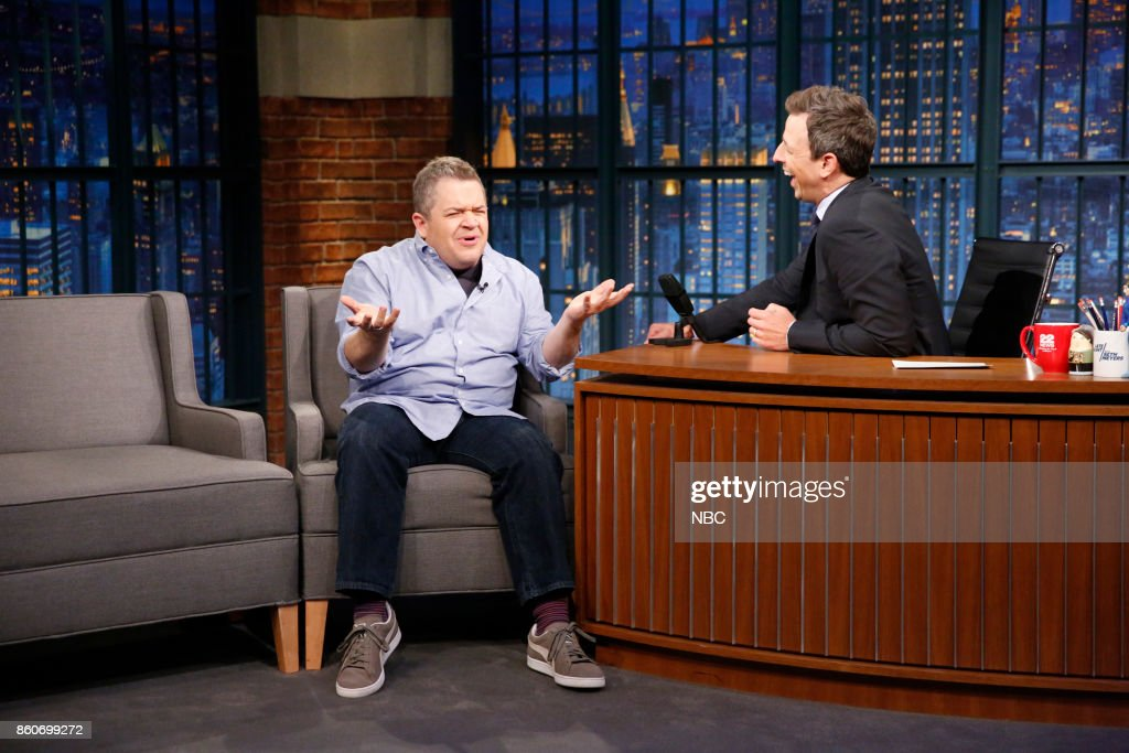Comedian Patton Oswalt talks with host Seth Meyers during an interview on October 12, 2017 --