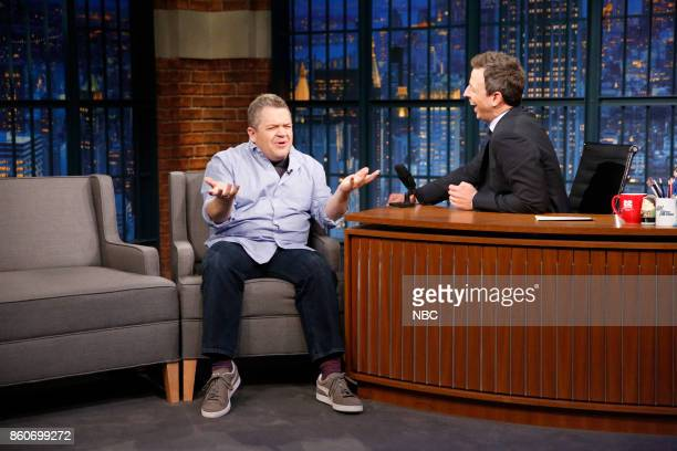 Comedian Patton Oswalt talks with host Seth Meyers during an interview on October 12 2017