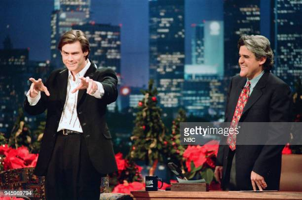 Actor Jim Carrey during an interview with host Jay Leno on