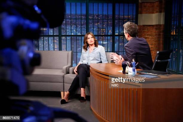 Actress Mariska Hargitay talks with host Seth Meyers during an interview on October 23 2017