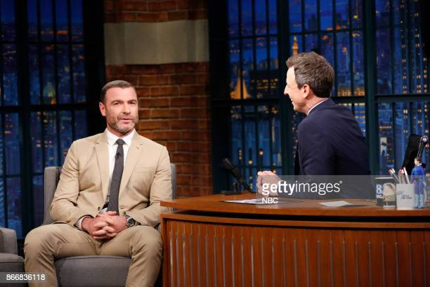 Actor Liev Schreiber during an interview with host Seth Meyers on October 26 2017