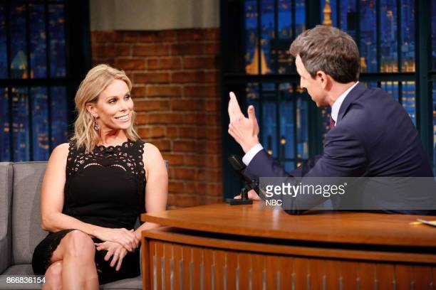 Actress Cheryl Hines during an interview with host Seth Meyers on October 26 2017