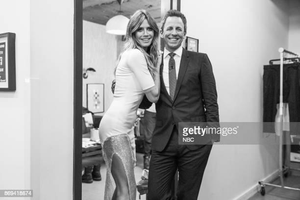 MEYERS Episode 599 Pictured Model Heidi Klum talks with host Seth Meyers on October 30 2017