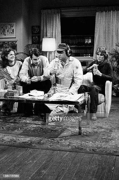 LIVE Episode 6 Air Date Pictured Gilda Radner as Jean Loud Dan Aykroyd as Rick Phillips John Belushi as Kevin Carrie Fisher as Joan Loud during 'The...