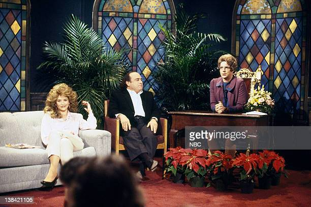 LIVE Episode 6 Air Date Pictured Jan Hooks as Jessica Hahn Danny DeVito Dana Carvey as Church Lady during the Church Chat skit