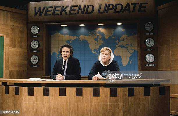 LIVE Episode 6 Air Date Pictured Dennis Miller Anthony Michael Hall during 'Weekend Update' sketch on December 21 1985