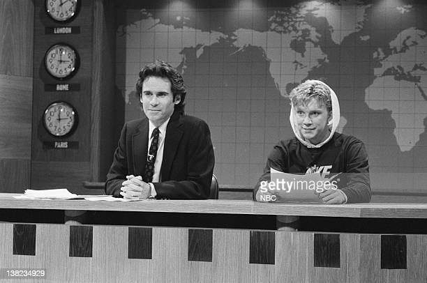 LIVE Episode 6 Air Date Pictured Dennis Miller Anthony Michael Hall during 'Weekend Update' on December 21 1985