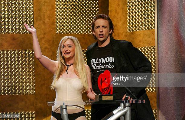 LIVE Episode 6 Aired Pictured Rachel Dratch as Tara Reid Seth Meyers as Mickey Rourke during The American Trainwreck Awards skit