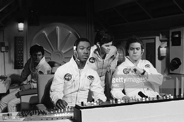 Back Gary Kroeger as Frank Middle Tim Kazurinsky as Astronaut Front Eddie Murphy as Bob Joe Piscopo as Paul Smalley during the 'Space Shuttle' skit...