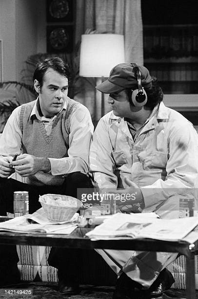 Dan Aykroyd as Rick Phillips John Belushi as Kevin during 'Loud Family' skit on November 18 1978