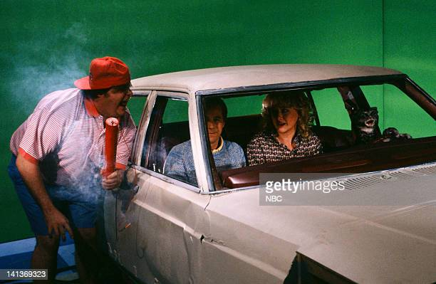 Dana Carvey as Lyle Clark Victoria Jackson as Brenda Clark during the 'Toonces The Cat Who Could Drive a Car' skit on November 17 1990 Photo by...