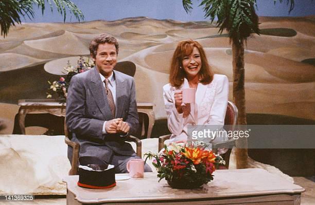Dana Carvey as Regis Philbin Jan Hooks as Kathie Lee Gifford during the 'Live with Regis Kathie Lee' skit on November 17 1990 Photo by Raymond...