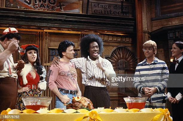 Julia LouisDreyfus as Daria Robert Blake Eddie Murphy as Buckwheat Joe Piscopo as Froggy during the monologue on November 13 1982 Photo by NBC/NBCU...