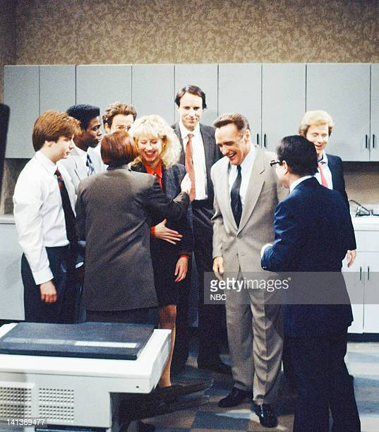 Episode 6 -- Pictured: Mike Myers as coworker, Chris Rock as coworker, Julia Sweeney as Pam, Victoria Jackson as coworker, Kevin Nealon as coworker,...