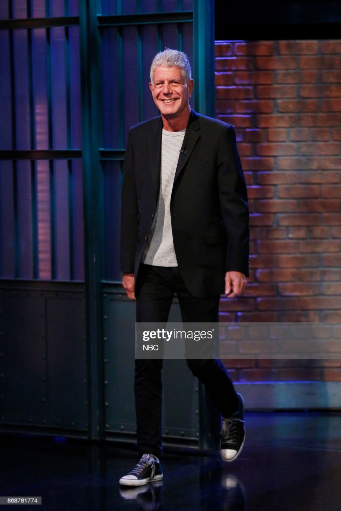 """NBC's """"Late Night With Seth Meyers"""" With Guests Anthony Bourdain, Aya Cash, Todd Barry"""