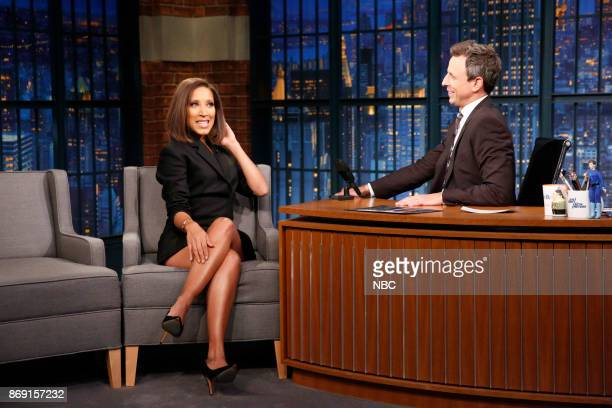 Robin Thede talks with host Seth Meyers during an interview on November 1 2017