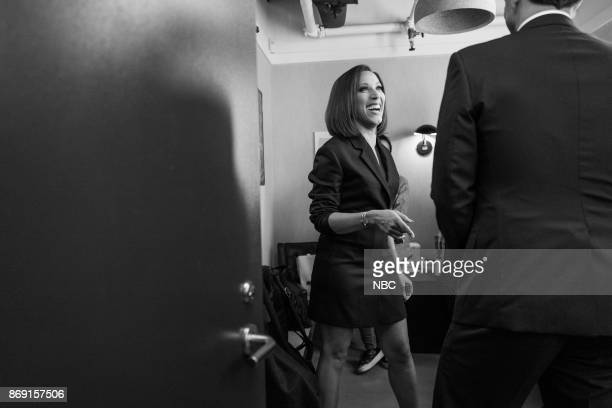 MEYERS Episode 601 Pictured Robin Thede talks with host Seth Meyers backstage on November 1 2017